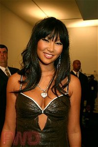 Kimora Lee Simmons backstage at her Baby Phat Spring 2005 collection, 275 Hudson Street, New York, NY, Saturday, September 11, 2004. (Fashion Wire Daily/Meaghan Murphy)