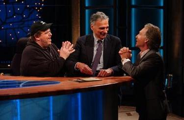 'Realtime' Talk show host Bill Maher, right, and Farenheit 9/11 director Michael Moore, left, beg Ralph Nader (news - web sites) to drop out of the 2004 presidential race during the broadcast of the program, in Los Angeles, Friday, July 30, 2004. (AP Photo/Pennington Creative Communications, Janet Van Ham)